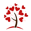 Vector clipart: stylized love tree made of hearts