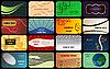 Векторный клипарт: установка горизонтального красочные визитные карточки