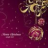 Векторный клипарт: Элегантный Рождество цветочный фон с шарами