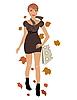 Vector clipart: elegant autumn girl