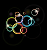 Vector clipart: set of multicolor illuminated circle for design card or flyer