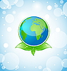 Vector clipart: Green earth with leaves