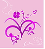 Vector clipart: Cute pink flowers background