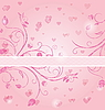 Vector clipart: floral card with heart for Valentine`s day
