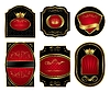set of black gold-framed labels