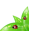 Vector clipart: Ecology background with ladybugs on leaves