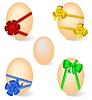 Vector clipart: Realistic set by Easter eggs with bows