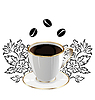 Vector clipart: Cup of coffee with floral design elements and coffee be