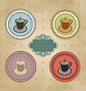 Vector clipart: Set of vintage retro coffee labels with ornament