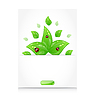 Vector clipart: Leaves with ladybugs sticking out of cut paper