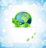 Vector clipart: Green earth with leaves wrapped ribbon