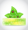 Vector clipart: Eco leaves with ladybugs sticking out of cut paper