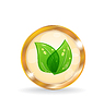 Vector clipart: Golden circle label with eco leaves