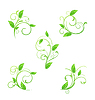Vector clipart: Set green floral elements with eco leaves
