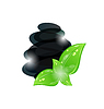 Vector clipart: stones with green leaves , spa