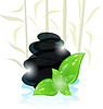 Vector clipart: Meditative oriental background with cairn stones and