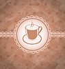 Vector clipart: Old grunge background with coffee label - cup, coffee