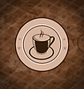 Vector clipart: Retro background with coffee mug, coffee bean texture