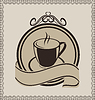 Vector clipart: Vintage label with coffee mug for packing