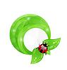 Зеленая круглая рамка с листа элементов и божья коровка, эко