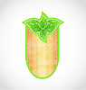 Vector clipart: Wooden board with eco green leaves
