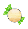 Wooden circle board with eco green leaves
