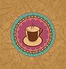 Милая богато старинных с чашкой кофе