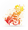 Vector clipart: Autumnal ornamental colorful design elements