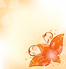 Vector clipart: Autumnal background with set orange leaves