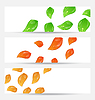 Vector clipart: Set autumn seasonal cards with changing leaves