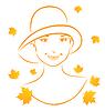 Abstract face autumn girl portrait