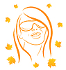 Vector clipart: Abstract face autumn girl portrait