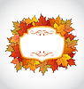 Vector clipart: Autumnal floral card with colorful maple leaves