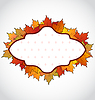 Vector clipart: Autumnal card with colorful maple leaves