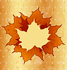 Vector clipart: Autumnal maple leaves, wooden texture