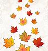 Vector clipart: Flying autumn orange maple leaves