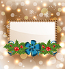 Vector clipart: Christmas elegant card with mistletoe and bow