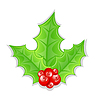 Vector clipart: Christmas decoration holly berry branches back