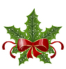 Vector clipart: Christmas holly berry branches and bow