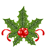 Vector clipart: Christmas holly berry branches and ribbon back
