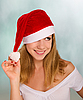 Beautiful happy girl in Christmas hat | Stock Foto