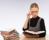 Strict woman with books | Stock Foto