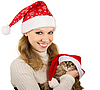 Beautiful mrs. Santa with kitten | Stock Foto