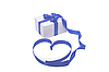 Photo 300 DPI: gift box with blue ribbon