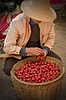 Asian man in Chinese hat with basket of apples | Stock Foto