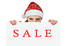 Christmas Santa woman with papr sheet - sale | Stock Foto