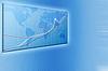 现代蓝色的商业背景与卡和图表 | 光栅插图