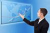 Geschäftsmann und blaue Weltkarte mit Diagrammen | Stock Foto