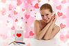 ID 3280009 | Schöne Mädchen mit Postkarte valentine | Foto mit hoher Auflösung | CLIPARTO