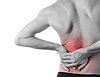 Rear view of young man holding his back in pain   Stock Foto